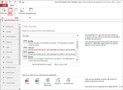 Et skærmbillede af en databaseapp i Access 2013, der viser, hvor nemt det er at tilføje tabeller.