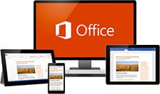 En tablet, en telefon, en desktopskærm og en skærm på en bærbar computer med Office 365 i brug.