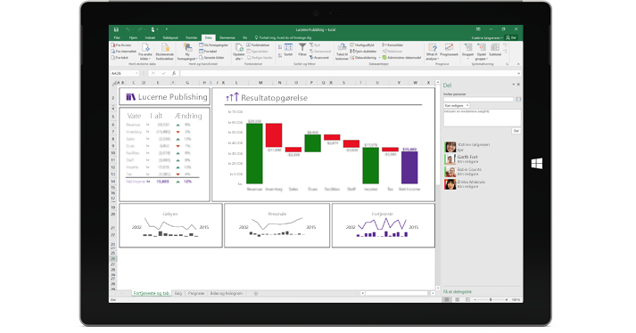 Siden Del i Excel, hvor funktionen Inviter personer er valgt.