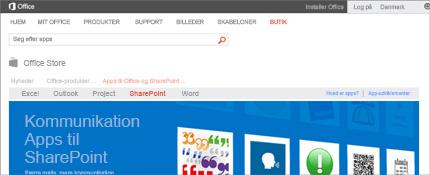 Skærmbillede af SharePoint Apps-siden i Office Store.