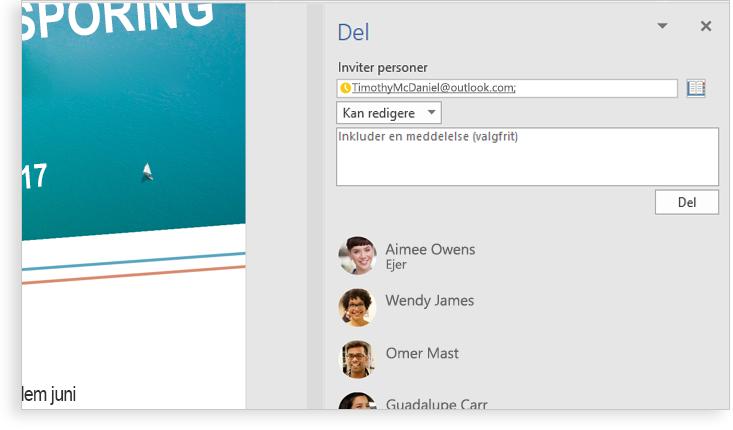 En computerskærm, der viser et Word-dokument med et nærbillede af funktionen Editor med forslag til ændring af ord i en sætning