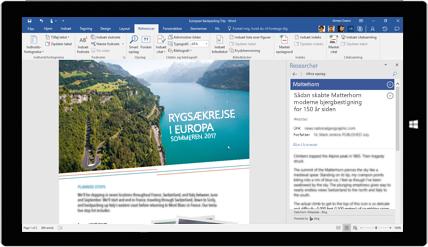 Tablet-skærm, der viser Word Researcher, som bliver brugt i et dokument om rygsækrejser i Europa – få mere at vide om at oprette dokumenter med indbyggede Office-værktøjer