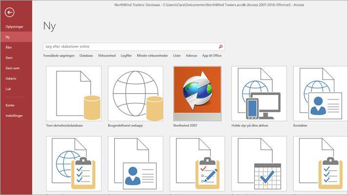 Skærmbilledet Ny database i Microsoft Access
