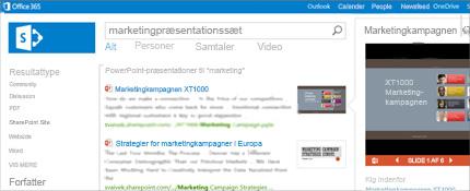Skærmbillede af en Personer-side i SharePoint, hvor du let kan få kontakt.