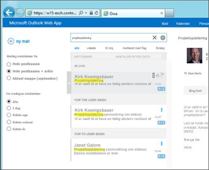 Nærbillede af en brugers indbakke i Outlook Web App.