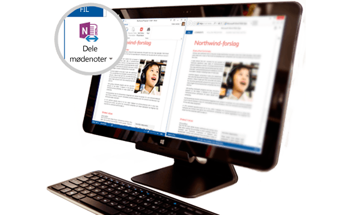 En computerskærm med delt mødeindhold vist.