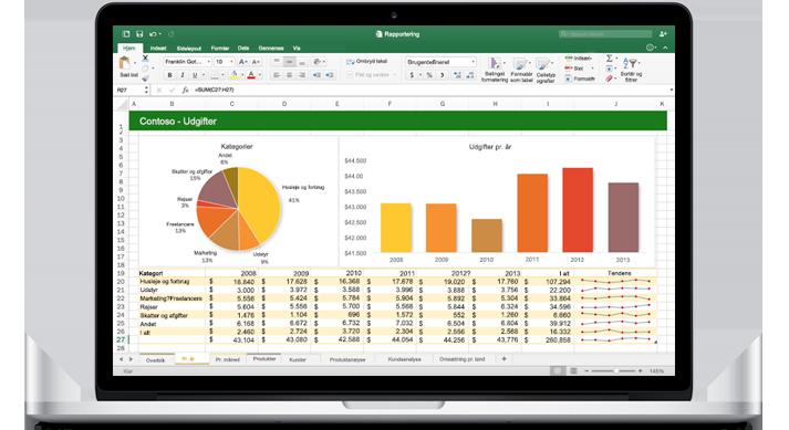En MacBook, som viser et nyt Excel til Mac-regneark med diagrammer.