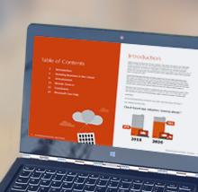 Bærbar computer, der viser e-bog på skærmen, download den gratis e-bog Tendensrapport: derfor flytter virksomheder til skyen