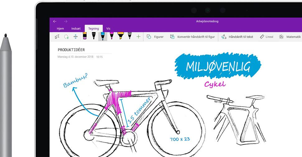 """En digital pen, der tegner et billede af en cykel ved navn """"Økocyklen"""" på en tablet."""