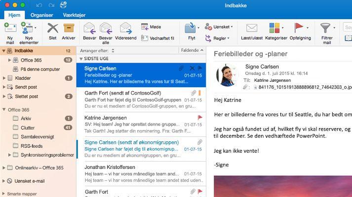 Et skærmbillede af en Microsoft Outlook 2016-indbakke med en meddelelsesoversigt og eksempelvisning.