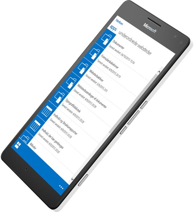 Mobilenhed, der viser brug af SharePoint for at finde oplysninger. Lær om SharePoint Server 2016 på Microsoft TechNet