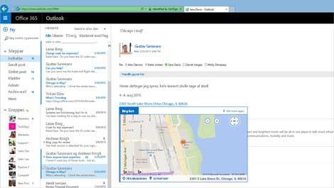 Nærbillede af en brugers indbakke i Outlook Web App, drevet af Exchange.