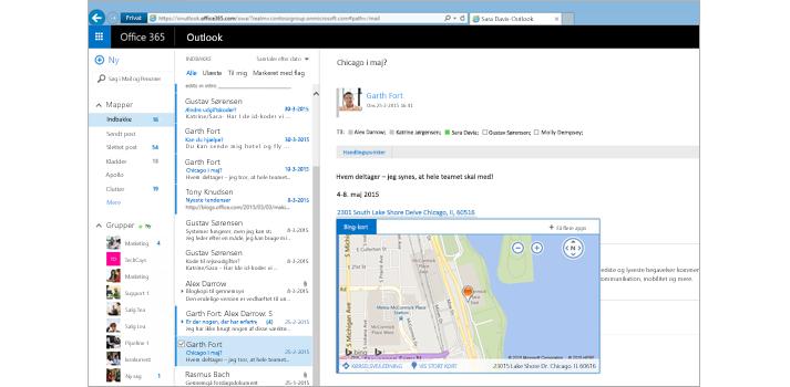 Nærbillede af en brugers indbakke i Outlook på internettet, drevet af Exchange.