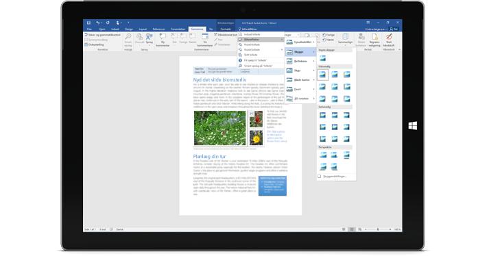 En Surface, der viser den nye Fortæl mig det-funktion i et Word-dokument.
