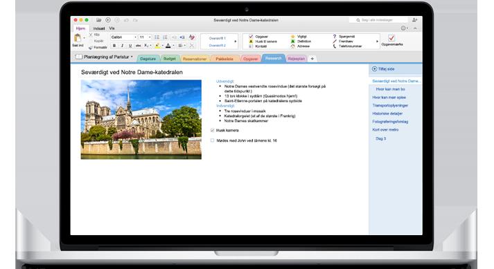 En MacBook, som viser en notesbog, der er åben i den nye OneNote til Mac.