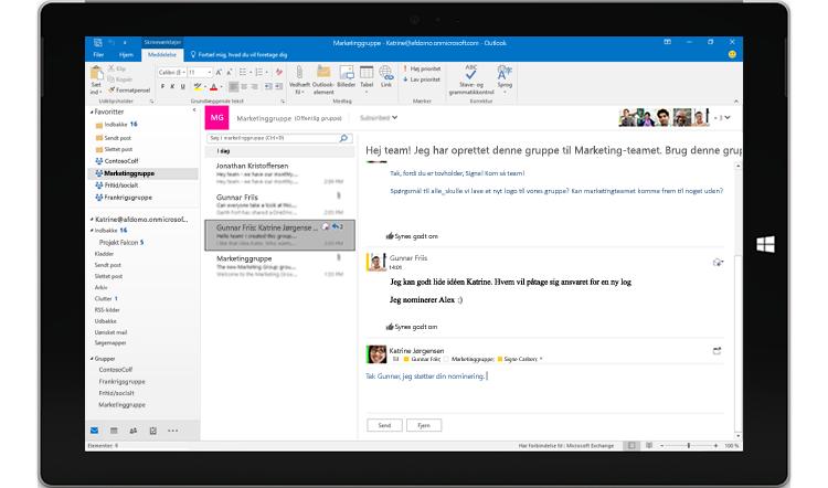 Hurtigt svar i Outlook 2016-gruppesamtale