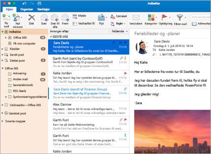 Et skærmbillede af en Microsoft Outlook 2013-indbakke med en meddelelsesoversigt og eksempelvisning.