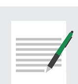Ikon af et dokument med en kuglepen liggende på tværs, omkranset af en cirkel.