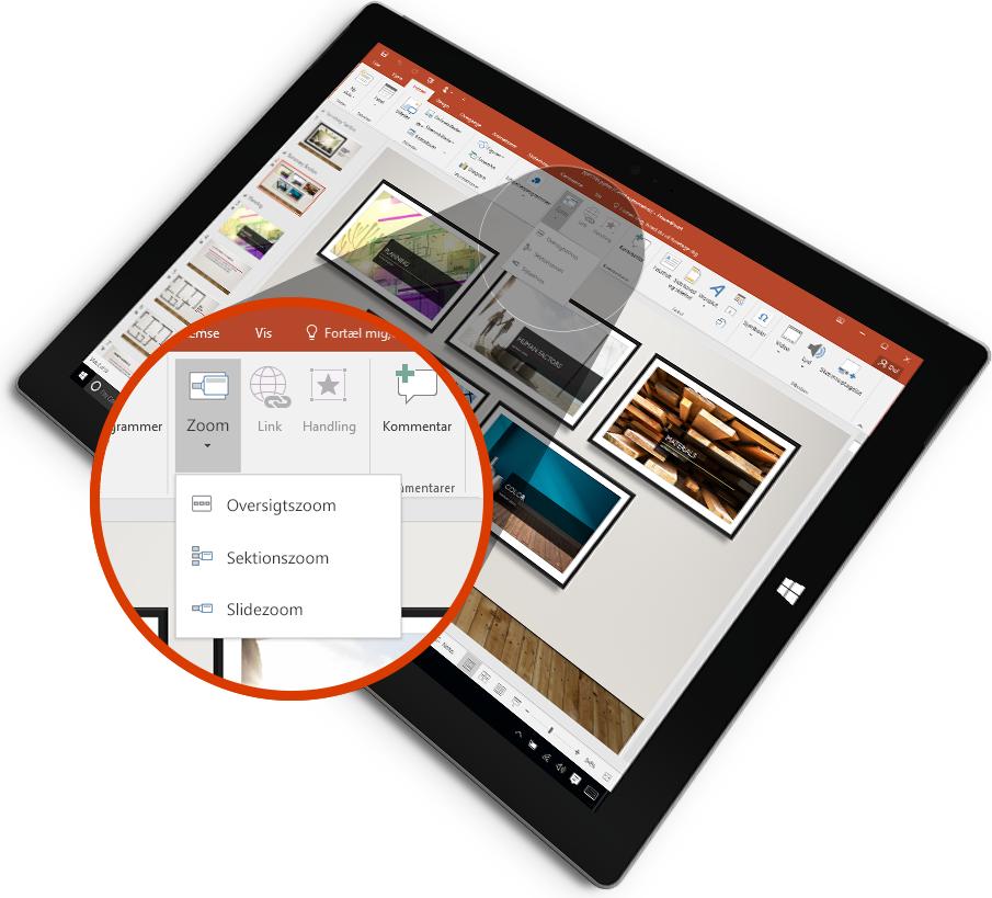 En tablet, der viser en PowerPoint-slide i præsentationstilstand med markering.
