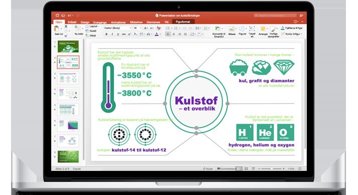 En MacBook, som viser en ny PowerPoint til Mac-præsentation.