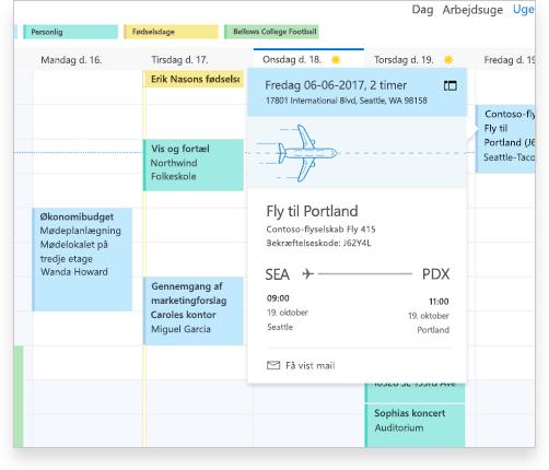 En Exchange-kalender, der viser flyoplysninger og andre aftaler og begivenheder