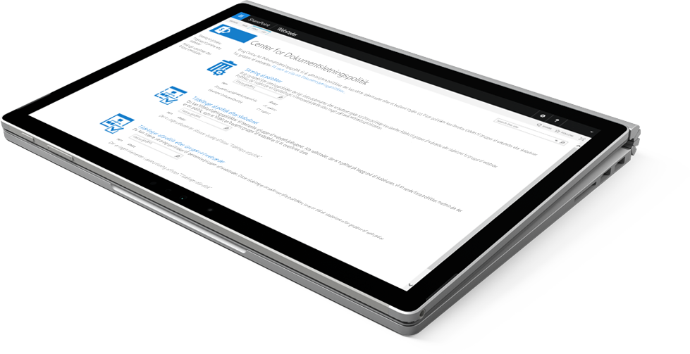 Bærbar computer, der viser Politikcenter for dokumentsletning i SharePoint