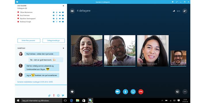 Et skærmbillede af en Skype for Business-startskærm med miniaturer af kontakter og forbindelsesmuligheder.