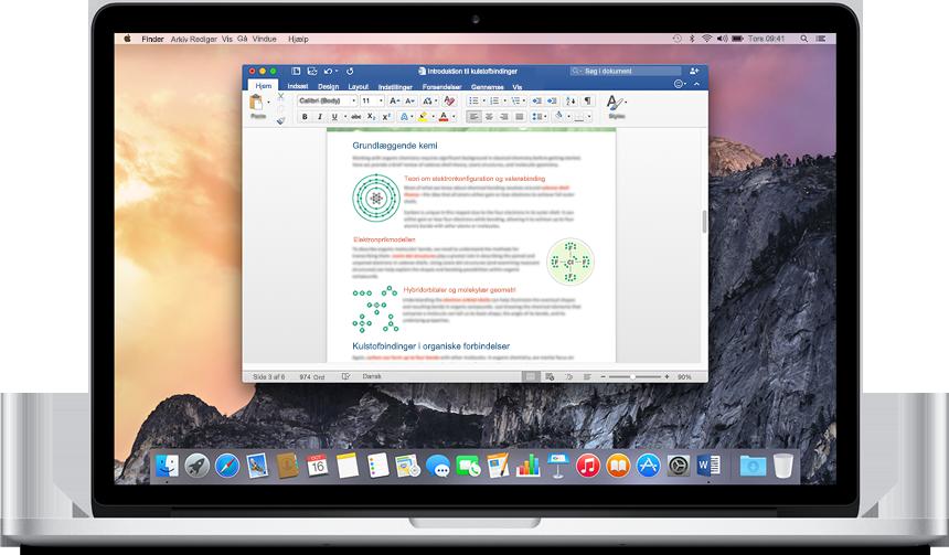 En MacBook, som viser et Word-dokument, der er åbent på startskærmen. Prøv det nye Office til Mac.