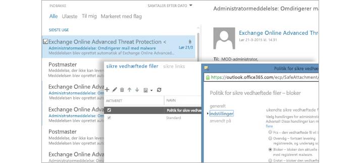 Skærmbillede af en administratormail og et vindue med politik for sikring af vedhæftede filer.
