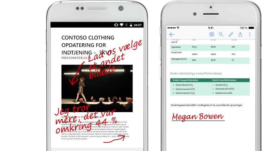 to smartphones, der viser dokumenter og håndskrevne noter om dem