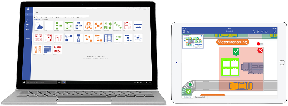 Visio Pro til Office 365-diagrammer vist på Surface og iPad.