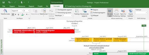 Skærmbillede af en projektfil, der er åben i Project Professional