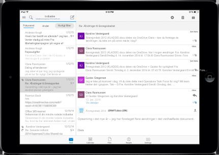 En tablet med en reklamefri indbakke med Office 365.