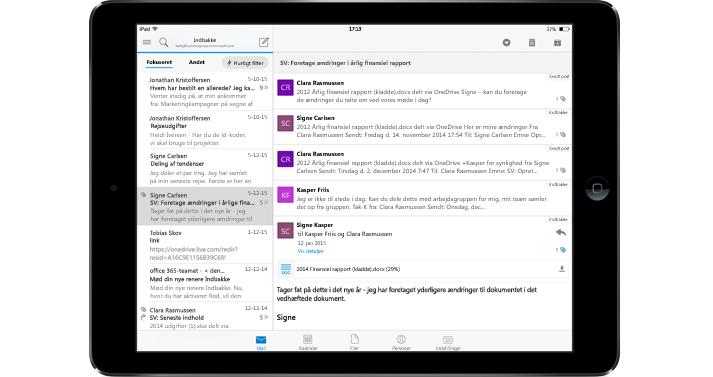 En tablet, der viser en indbakke uden reklamer med Office 365.