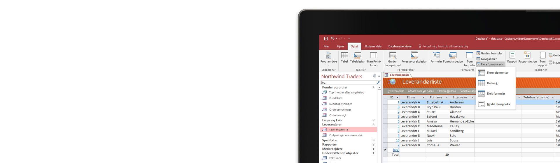 Hjørnet af en computerskærm, der viser en leverandørliste i en database i Microsoft Access.