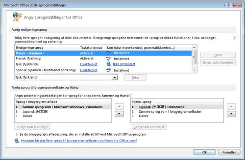 Med Language Packs 2010 kan du nemt vælge det sprog, du ønsker at redigere på