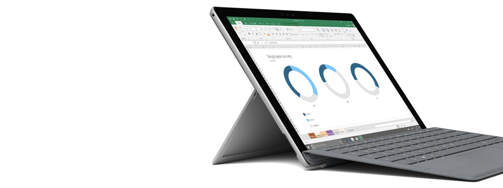 Surface-enhed vist med skærmbillede af Windows/Office.