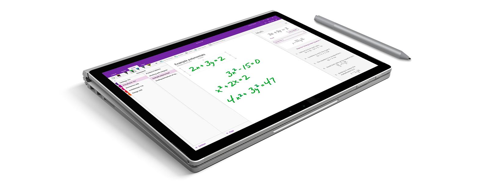 OneNote-skærmbillede, der viser Ink Math Assistant