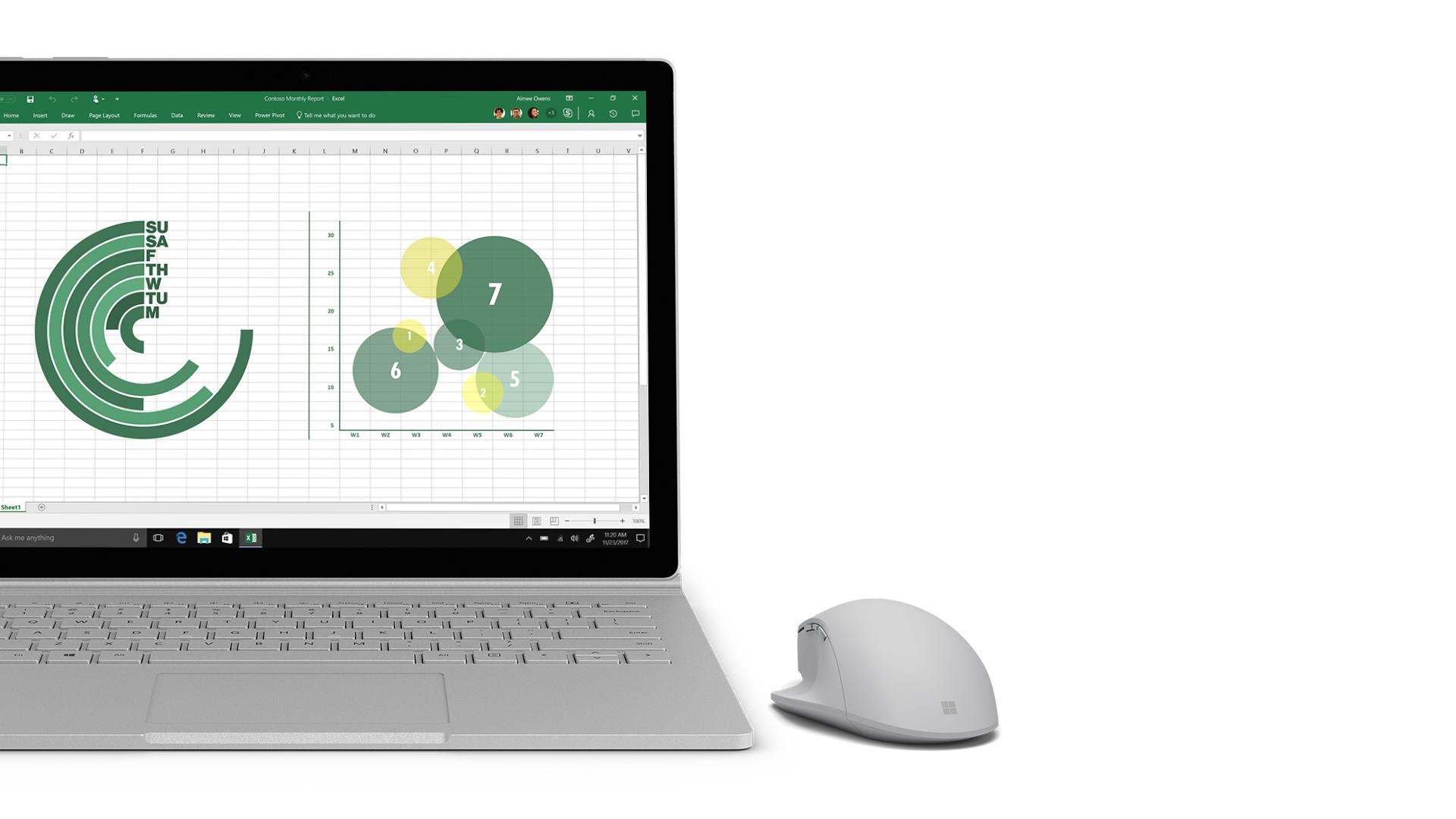 Excel-skærmbillede på Surface.