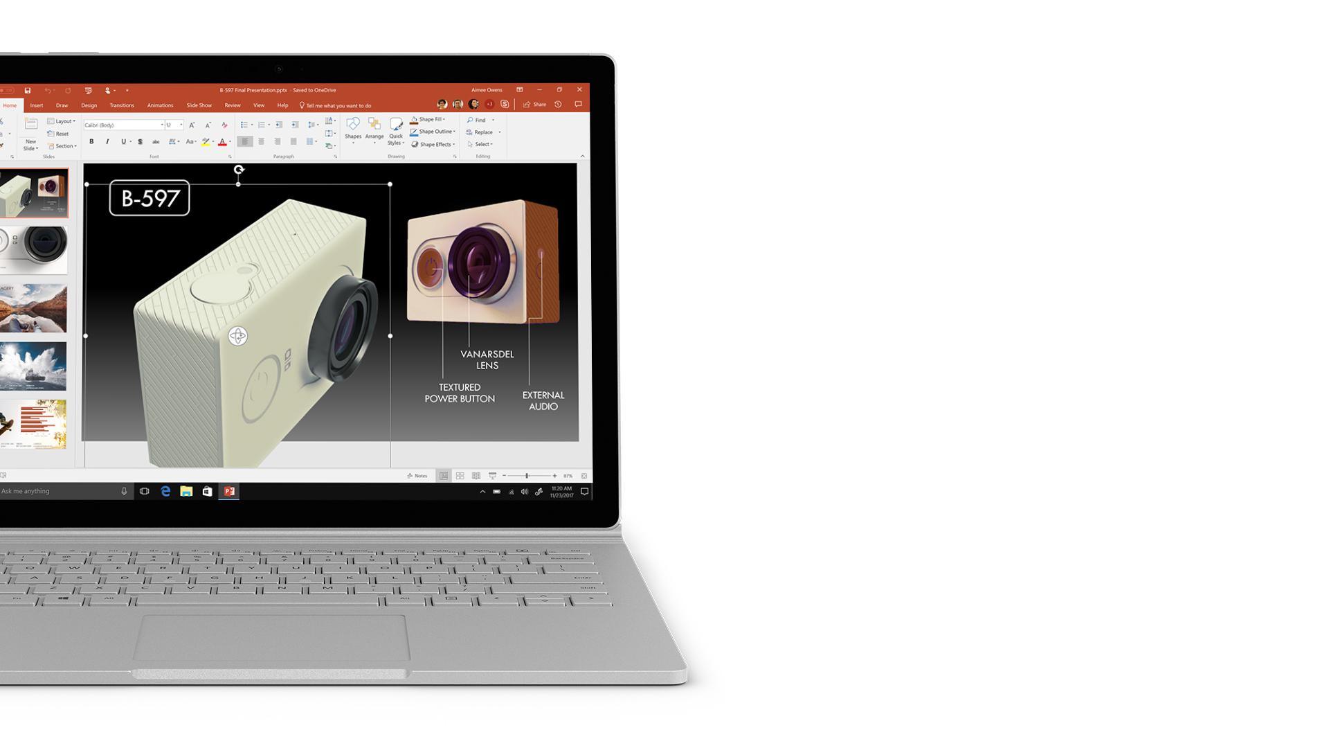 PowerPoint-skærmbillede på Surface.