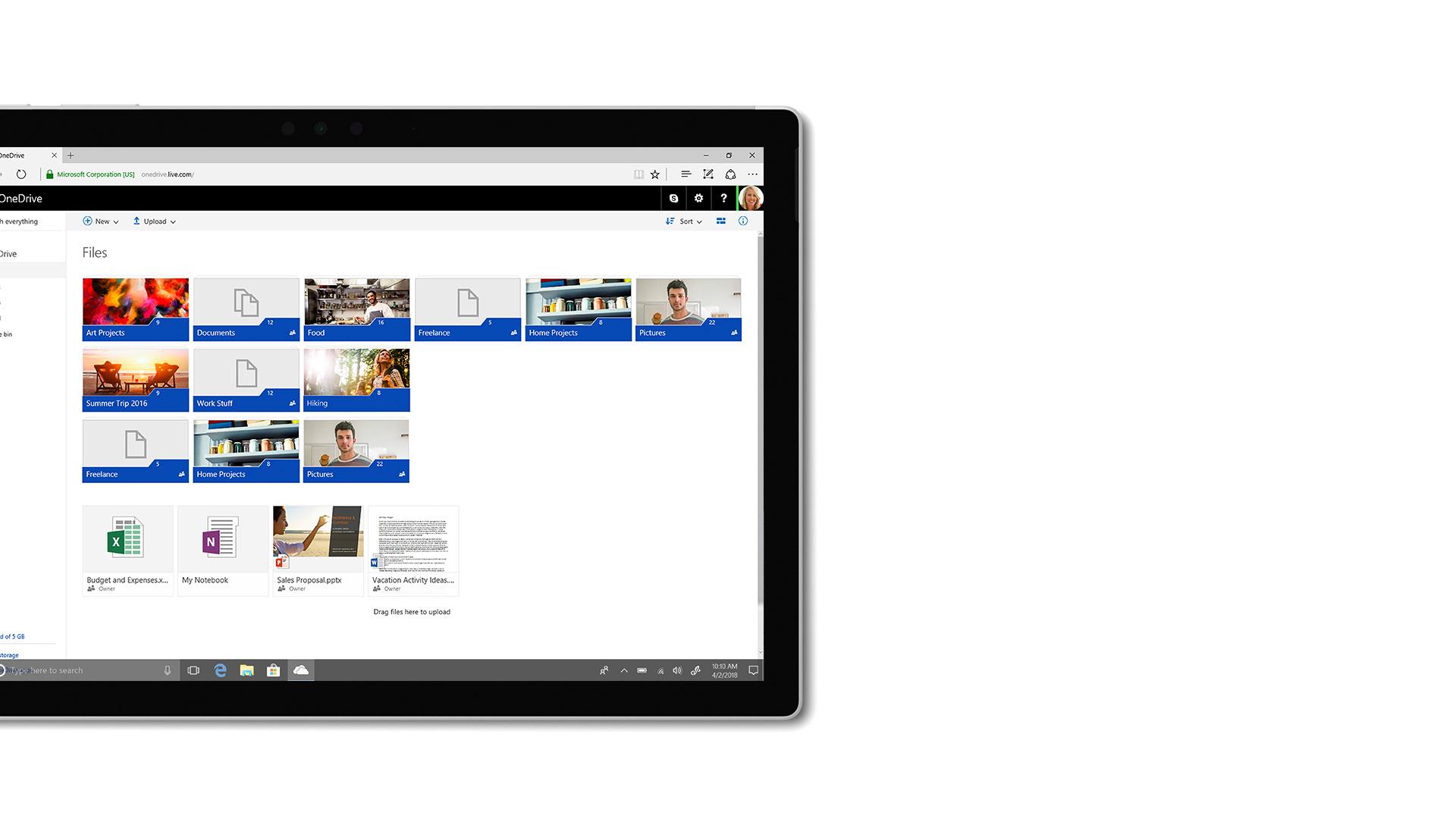 Billede af brugergrænseflade i Microsoft OneDrive