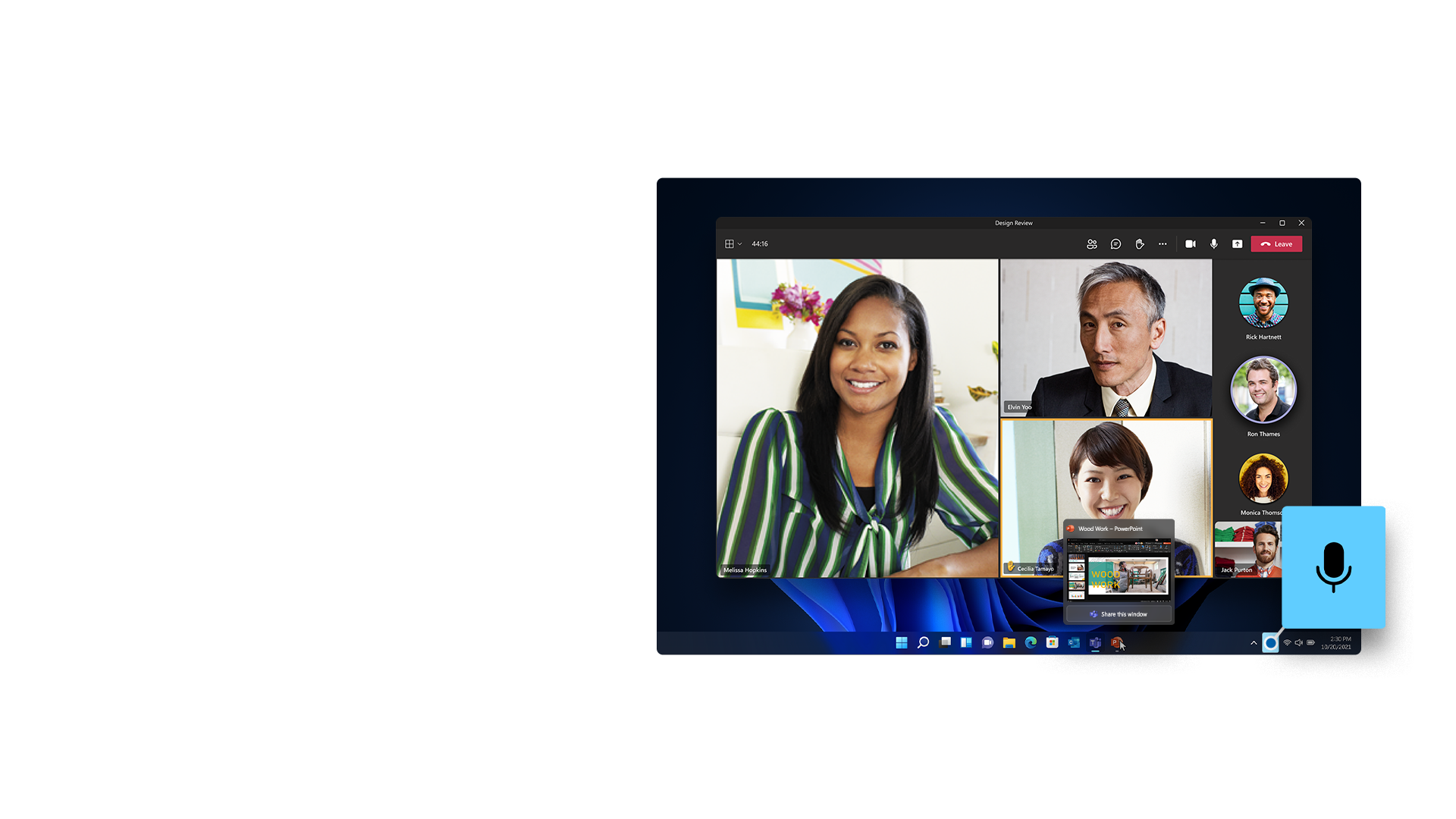 Windows 11-skærm med Microsoft Teams og PowerPoint og en universel lyd fra-funktion