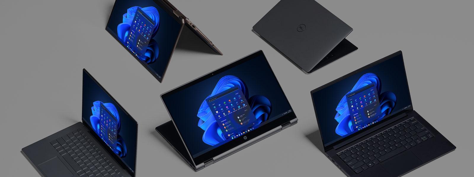 Række af 5 Windows 11-computere
