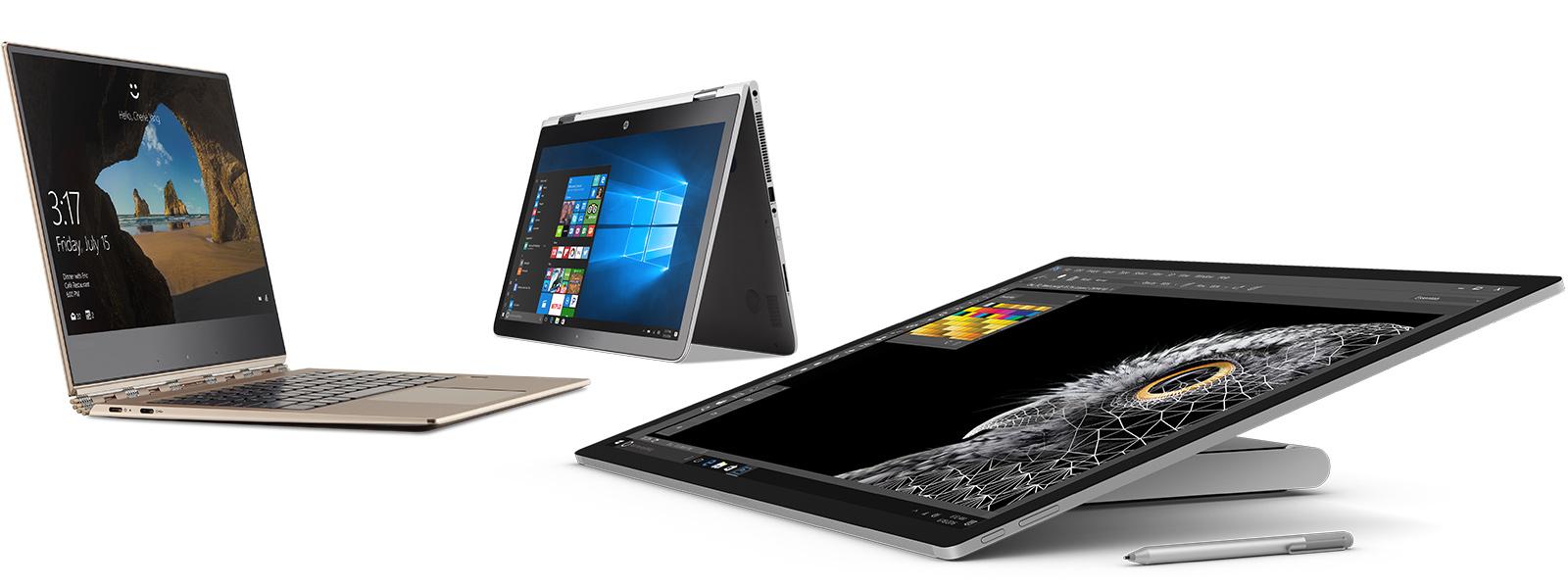 Gruppebillede af HP Spectre, Lenovo Yoga og Surface Studio.