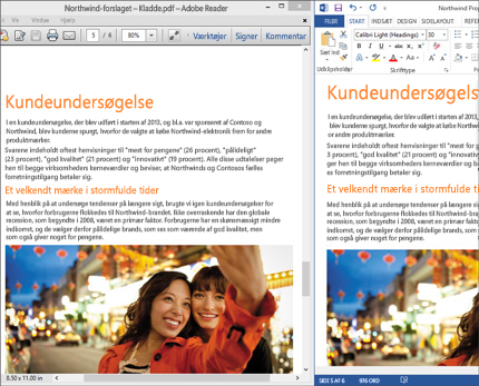 En bærbar pc, der viser to forskellige livelayouts ved siden af hinanden i et enkelt Word-dokument.