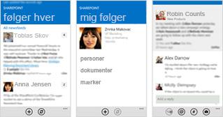 Tre skærmbilleder fra en SharePoint Online nyhedsstrøm på forskellige mobile enheder.