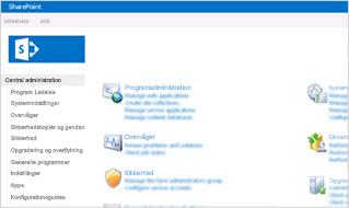 Skærmbillede af administrationskonsollen i SharePoint Online.