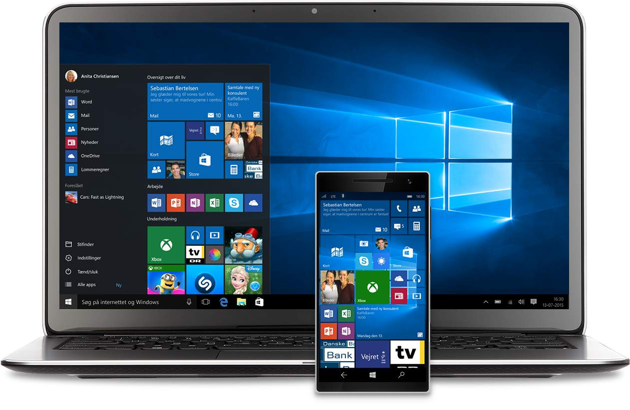 En bærbar computer og telefon med menuen Start i Windows 10