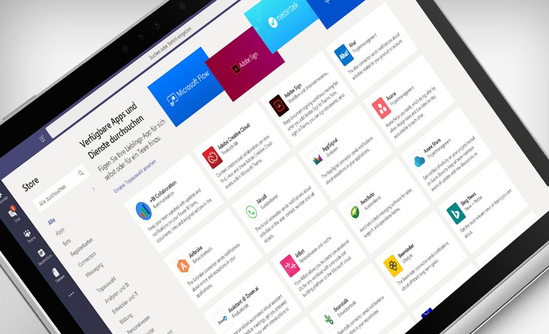 Ein Laptop mit der Microsoft Teams-Anwendung