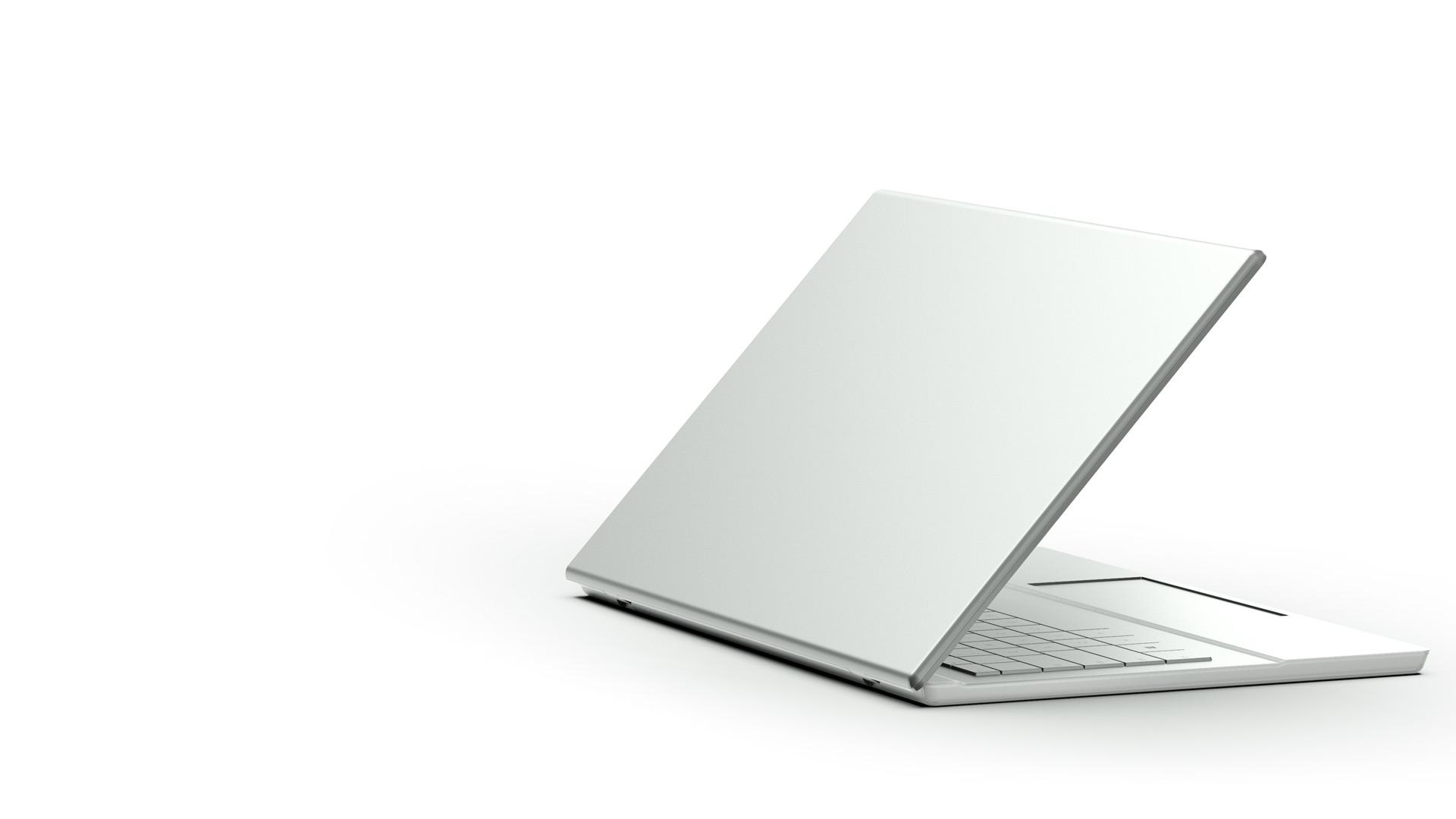 Die Rückseite eines geöffneten Windows 10-Laptops